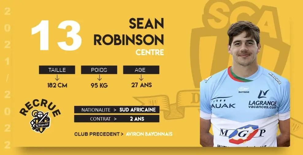 Rugby-Nationale. Albi recrute le trois-quarts centre Sean ROBINSON.