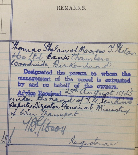 Accepted by Ministry of War Transport - 25th August, 1943