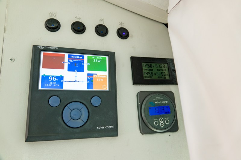 Control Panel, DC System Monitor, Lithium Battery Monitor and 4 Switches (Fridge, Bathroom Fan, Back Up Monitor, Water Pump)