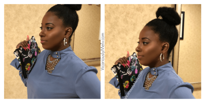 Qualah Wears Natural hairstyle in bun