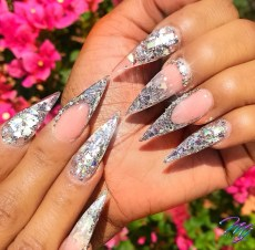 Diamond glitter stiletto shaped nails