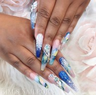 Long blue beautiful acrylic nails