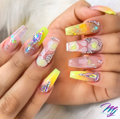 Beautiful yellow nail designs for the summer