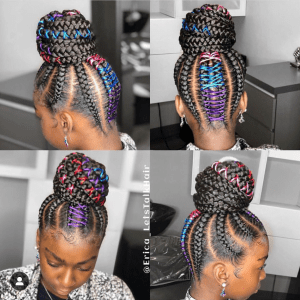 Braided updo hairstyle bun with colorful string