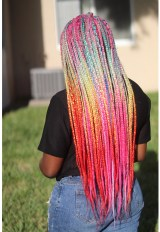 Bright Colorful Rainbow Box Braids