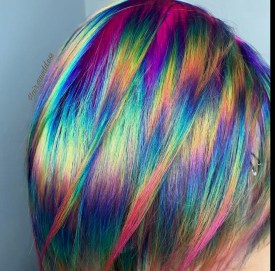 Feathered Rainbow Dyed hair color