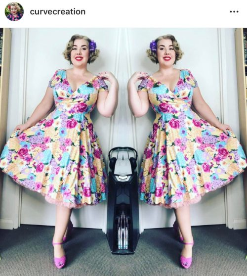 Stylish Woman in Floral A-line Dress with peeping petticoat Vicariously Me Fashion Friday Street Style