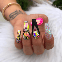 Pink and Black coffin shaped nails