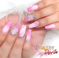 Pink and white ombre nails for the summer