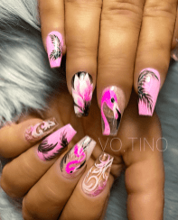 Pink black and white nail designs for the summer