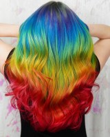 Rainbow Ombre Crayon hair color