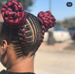 Red Braided hairstyle with double bun back