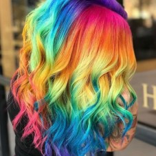 Short Rainbow Dyed Bob hair with beach waves