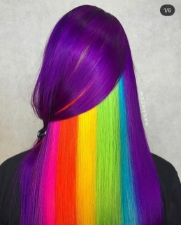 Violet Purple hair color with rainbow highlights