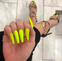 Yellow coffin shaped nails for summer