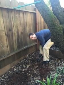 Adam digging in the dirt