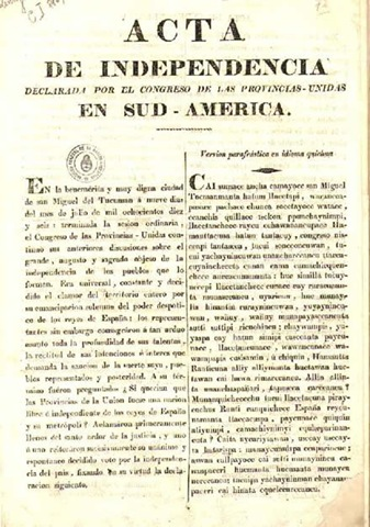 9 DE JULIO DE 1816. INDEPENDENCIA DE LA REPÚBLICA ARGENTINA