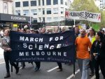 March for Science in Melbourne, Australia, on 22nd April, 2017, marching along Bourke Street