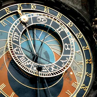 Photo of astronomical clock in Prague Old Town Square