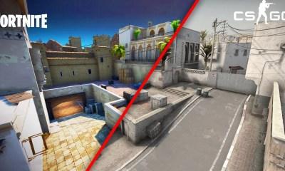 O mapa de_dust2 talvez seja o local mais famoso do Counter-Stike e chegou ao Fortnite, através de uma recreação bastante fiel ao original.