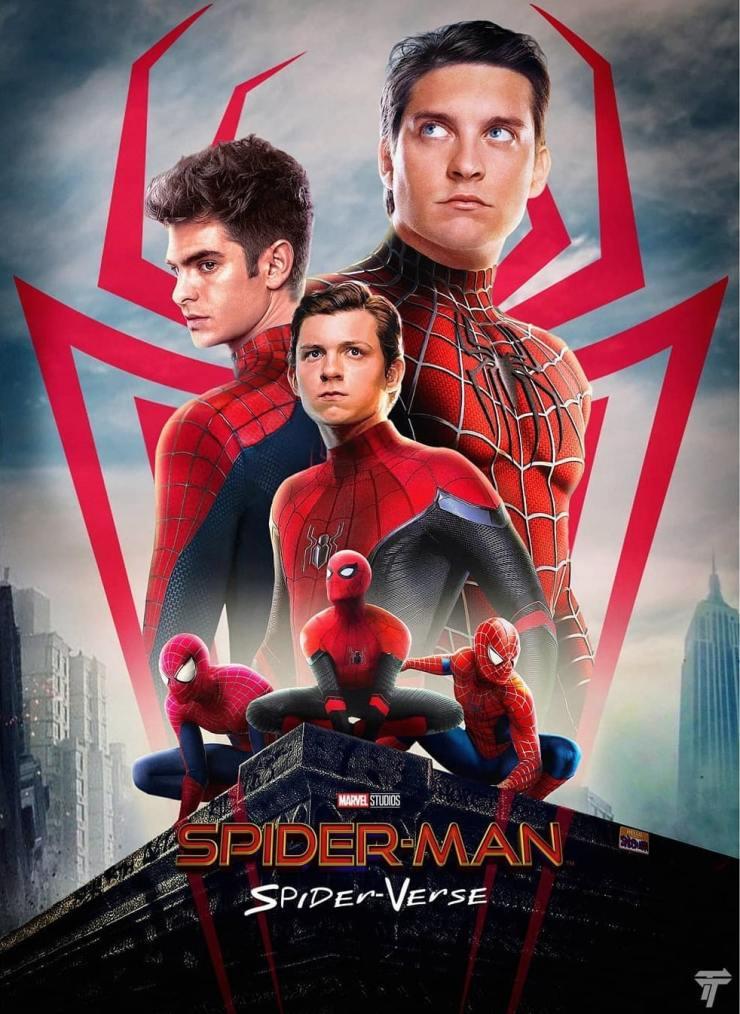 Poster feito por um fã, em que mistura os vários universos do Spider Man.