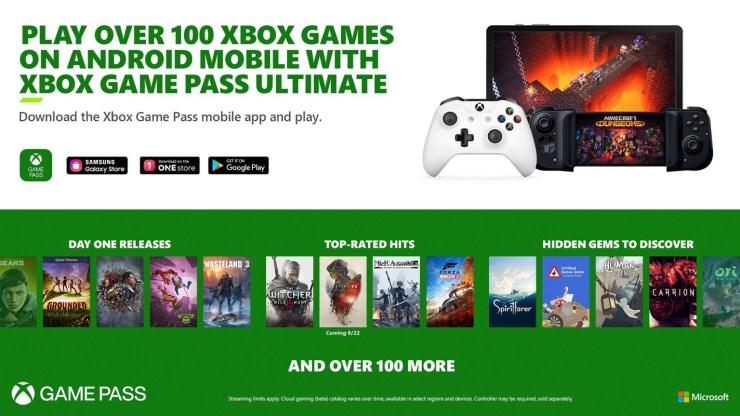Jogue mais de 100 jogos no Android com o Xbox Game Pass Ultimate.