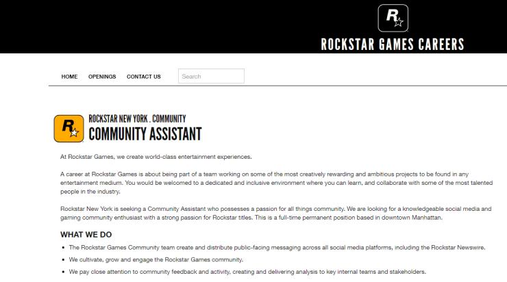 Página de vagas de emprego da Rockstar Games.