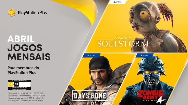Você pode ainda aproveitar os jogos da PS Plus de Abril: Days Gone, Oddworld: Soulstorm e Zombie Army 4: Dead War