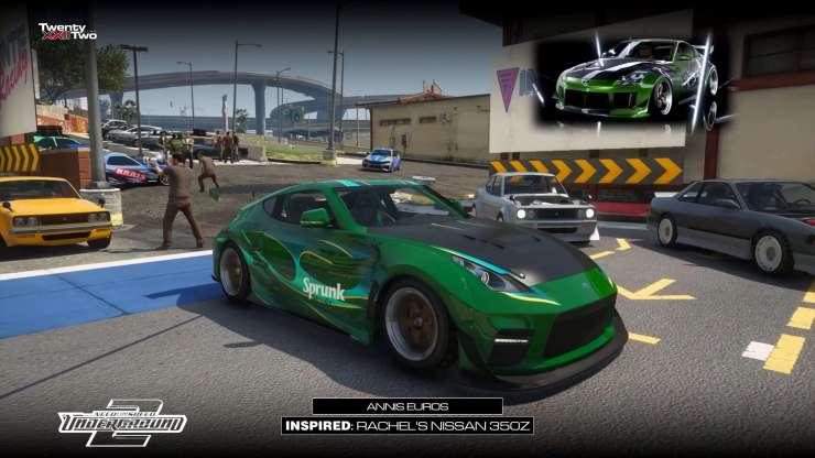 XXII usou Annis Euros de GTA Online para recriar o Nissan 350Z da Rachel de NFS Underground 2