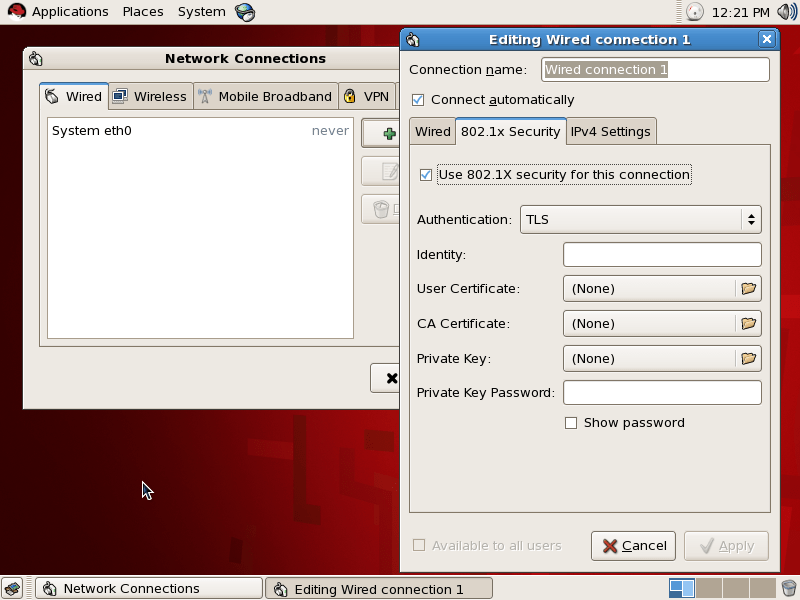 Setting up Red Hat Enterprise Linux 5.7 with 802.1x Authentication and Proxy (2/4)