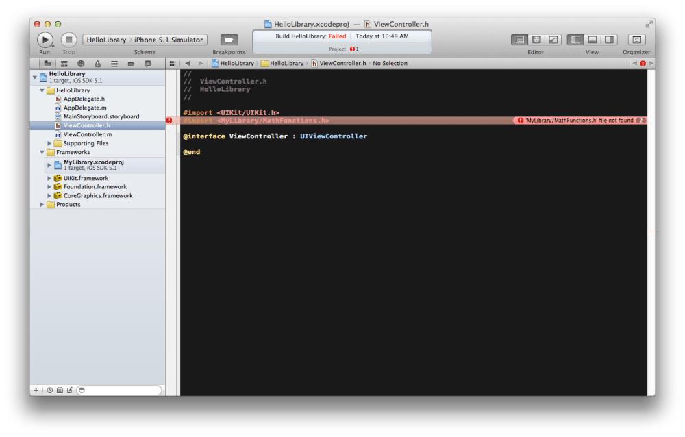 Linking an iOS Static Library Project in another Project in Xcode 4.3.2 (2/5)