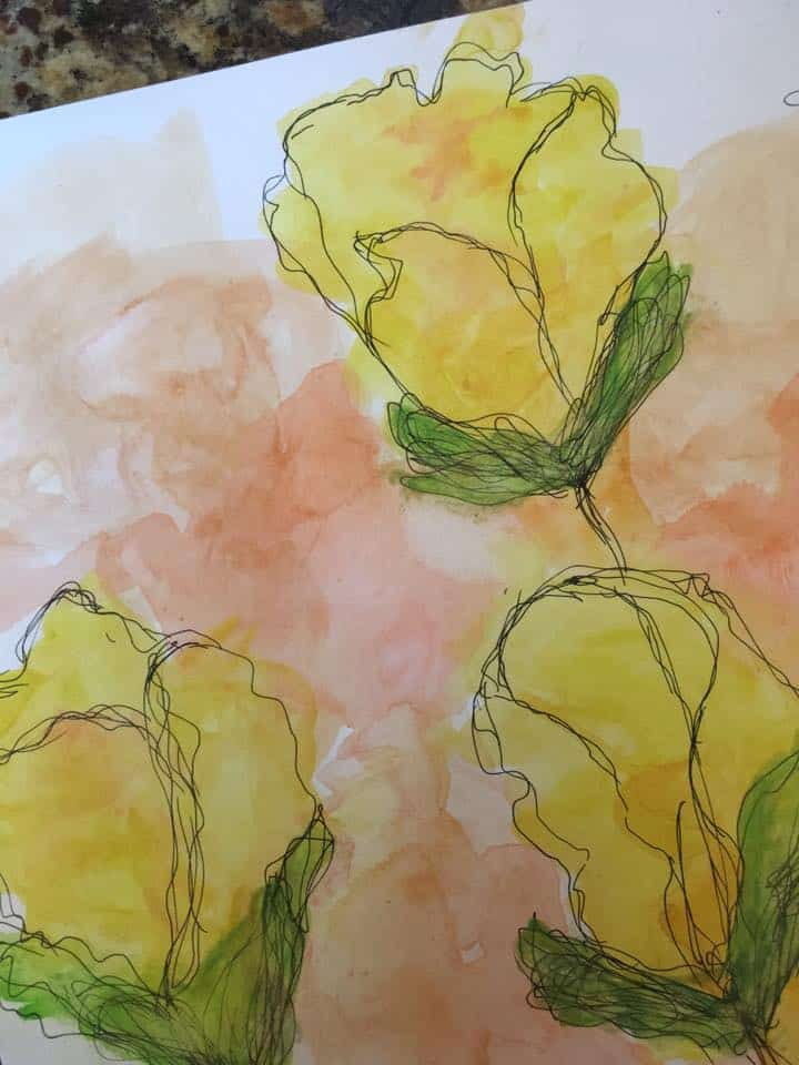 9x12 Abstract Watercolor Floral on watercolor paper
