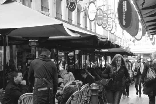 It was surprising how many people braved the winter in the open-air cafes in Degreaves Street.