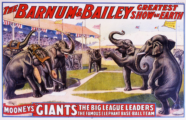 A 1913 Barnum & Bailey poster. Transcendental Graphics/Getty Images.