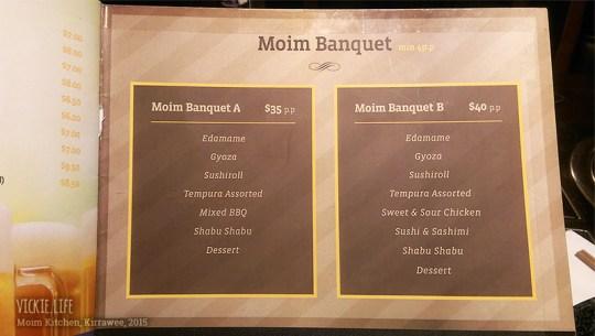 Moim Japanese Kitchen: Dine-In Banquet Menu