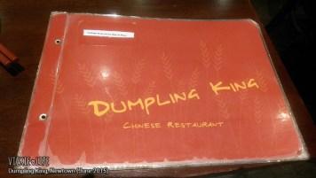 Dumpling King, Newtown, June 2015: Menu Cover