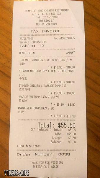 Dumpling King, Newtown, June 2015: Our Bill