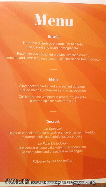 Doltone House Hyde Park, August 2015: Awards Night Menu
