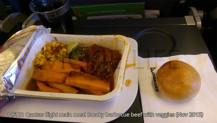 QF121 Qantas Main Meal: Smoky barbecue beef with veggies