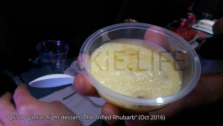 QF117 Qantas Rhubarb and apple trifle