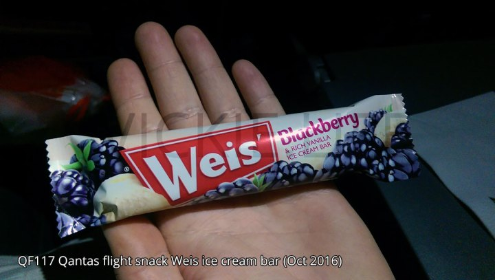 QF117 Qantas snack Weis ice cream bar