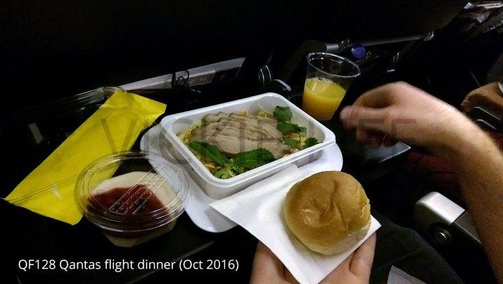 QF128 Qantas standard dinner