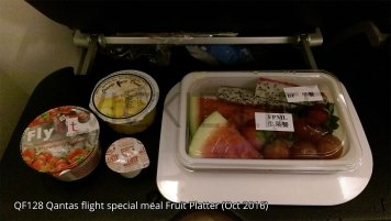QF128 Qantas fruit platter breakfast