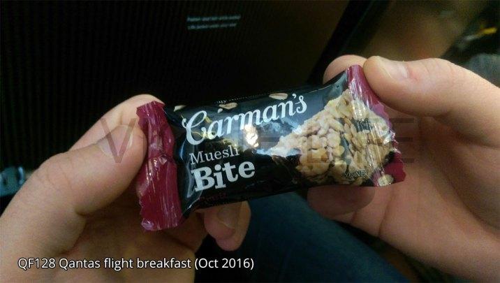 QF128 Qantas Carman's muesli bar