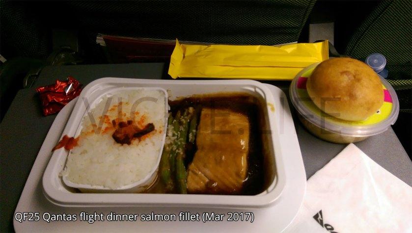 QF25 Qantas flight dinner: salmon fillet
