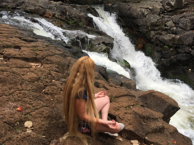 Vickie Gay HI waterfall meditate