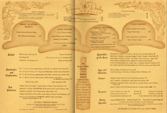 1947 - Luncheon Menu at the Brown Derby in Hollywood