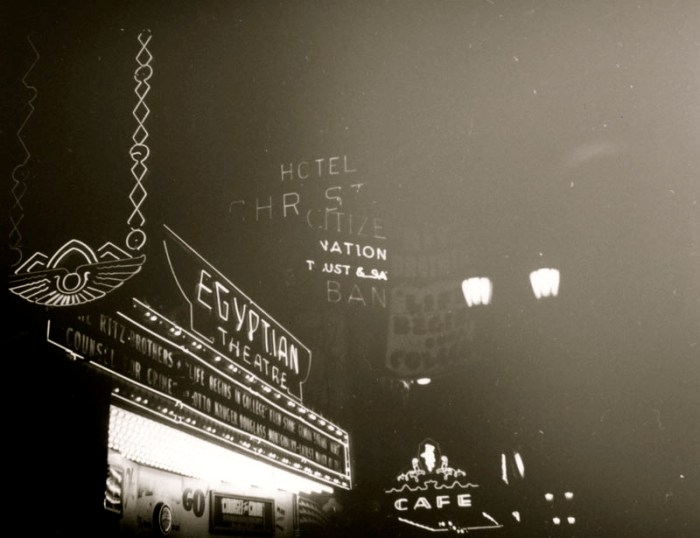 egyptian theater and pig and whistle