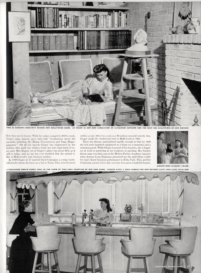 Ginger Rogers at home