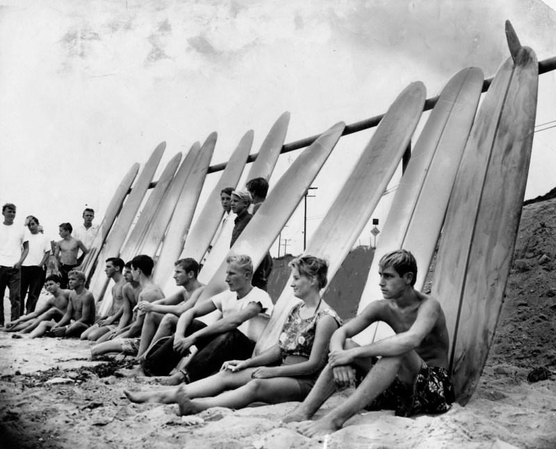 1961 beached surfers malibu
